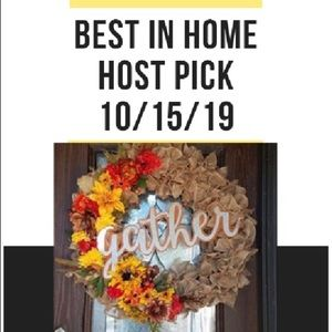 "Custom Fall Floral Wreath With ""Gather"" Wordage"